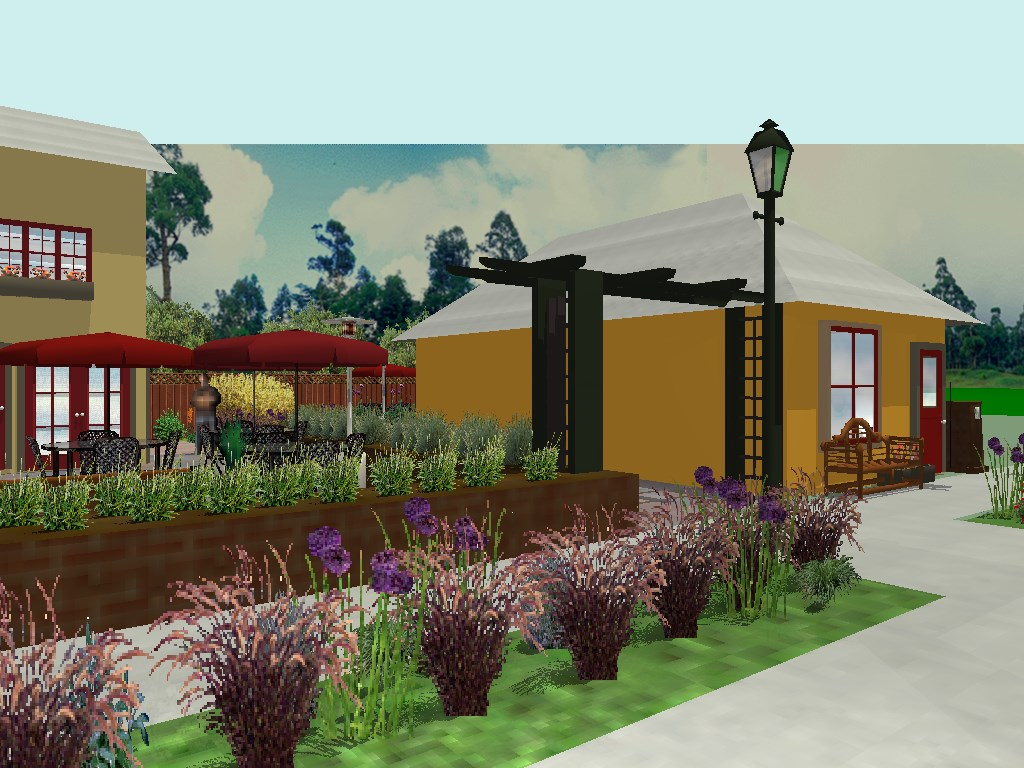 Rendering of proposed redevelopment of 815 S. 15th Street in Logansport.  Rendering features two-story buildings, outdoor seating and landscaping.